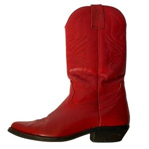 Vintage Red Leather Cowboy Boots sz 37